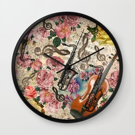 Vintage pink bohemian roses classical notes musical instruments Wall Clock