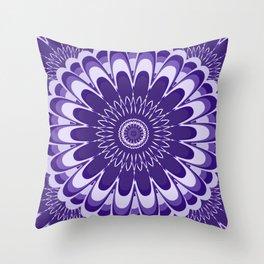 Purple Mandala Bloom Throw Pillow