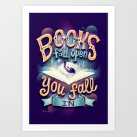 Books fall open you fall in Art Print