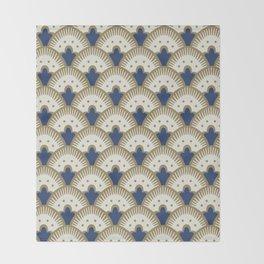 Fan Pattern Blue/Gold Throw Blanket
