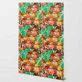 TROPICAL FLOWER LEOPARD SPOT ISLAND PATTERN Wallpaper