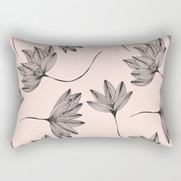 Pink Retro Floral Pattern - Mix and Match with Simplicity of Life Rectangular Pillow
