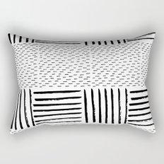 Black white watercolor modern brushstrokes pattern Rectangular Pillow