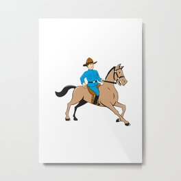 Mounted Police Officer Riding Horse Cartoon Metal Print