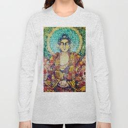 Zen Meditation Buddhist Monk Stained Glass Effect Long Sleeve T-shirt