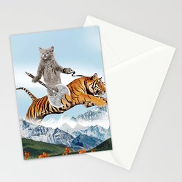 Cat Riding A Tiger Stationery Cards
