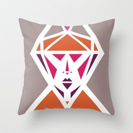 Five Triangle Faces - The Lady Throw Pillow