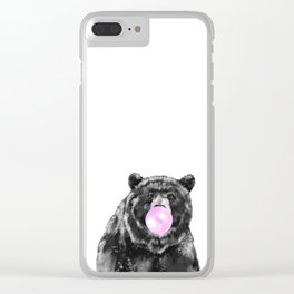 Bubble Gum Big Bear Black and White Clear iPhone Case
