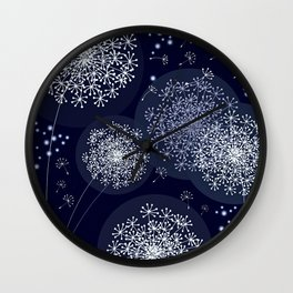 MIDNIGHT MAGIC DANDELION - BLUE by MS Wall Clock