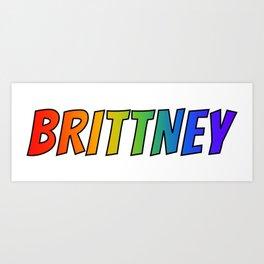 """BRITTNEY"" First Name Rainbow Spectrum Gradient Colors Pattern Art Print"