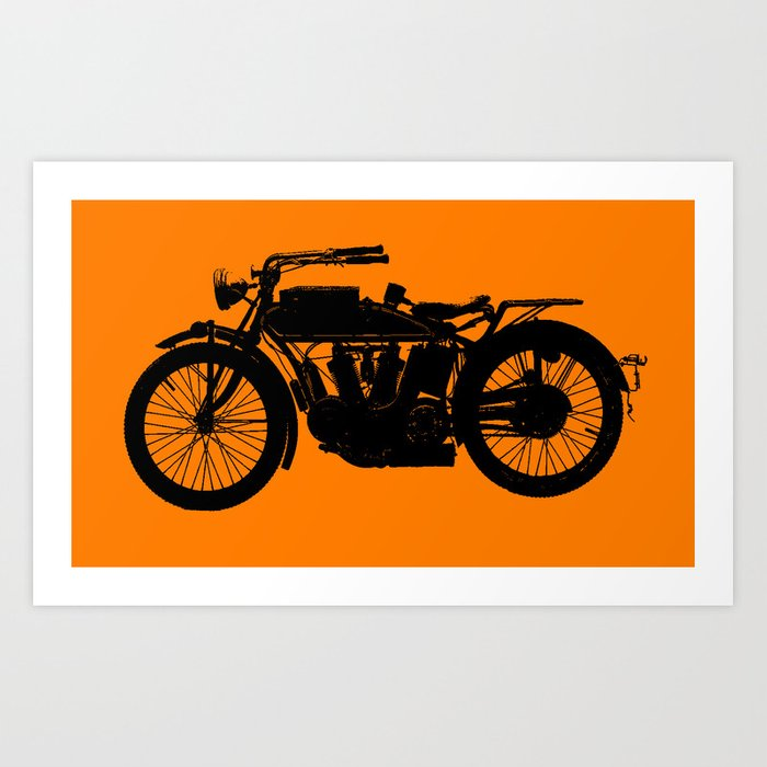 Antique Motorcycle // Orange Kunstdrucke