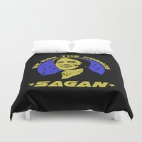 sagan Duvet Covers featuring Carl Sagan we are the cosmos by Buby87