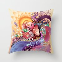 koi Throw Pillows featuring Koi by Nick La