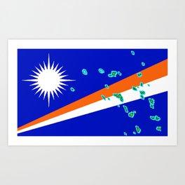 Marshall Islands Flag with Marshallese Map Art Print