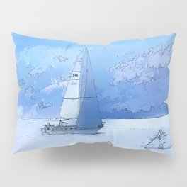 Sailing the Calm Blue Waters  - Sailboating Pillow Sham