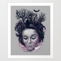 laura palmer Art Prints featuring Laura by Jorge Garza