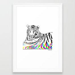 Tiger, glitched Framed Art Print