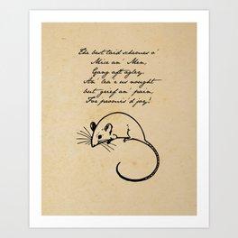 To a Mouse - Robert Burns - Mice and Men Art Print