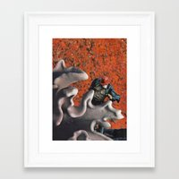 run Framed Art Prints featuring run by tareco
