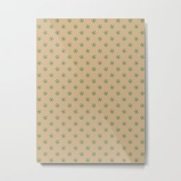 Cadmium Green on Tan Brown Snowflakes Metal Print