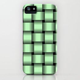 Large Light Green Weave iPhone Case