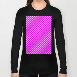 Diagonal Lines (White/Fuchsia) Long Sleeve T-shirt