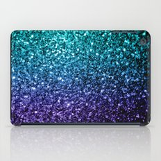 Beautiful Aqua blue Ombre glitter sparkles iPad Case