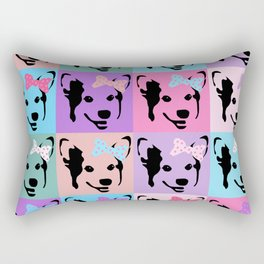 Corgi Pop - cute corgi with bow, dog, dogs, corgis, pop art, pink and purple, girls pop art Rectangular Pillow