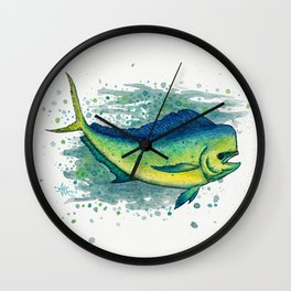 """Mahi Mahi Splash"" by Amber Marine ~ Watercolor & Ink Painting, (Copyright 2016) Wall Clock"