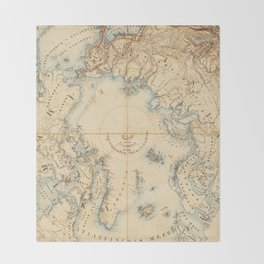 Map of the Arctic and Adjacent Regions (1855) Throw Blanket