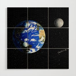 Drawing the Earth and the Moon Wood Wall Art