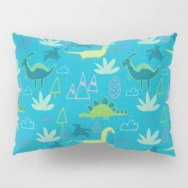 Dino Fun land Blue Pillow Sham