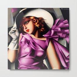 Girl in a Pink Dress Haute Couture Art Deco portriat painting Tamara de Lempicka Metal Print