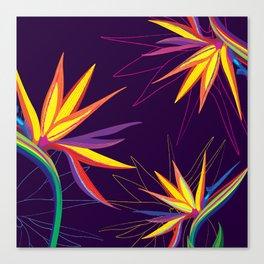 Tropical floral pattern Strelitzia Canvas Print