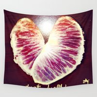 health Wall Tapestries featuring Blood Red Orange Heart Health by ANoelleJay