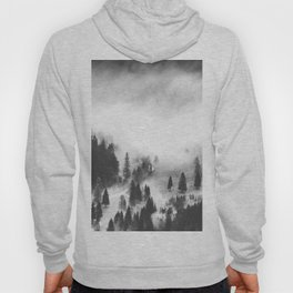 Modern Minimalist Landscape Photo Foggy Mountain Valley Pine Trees Black And White Photo Hoody