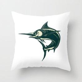 Blue Marlin Jump Scratchboard Throw Pillow