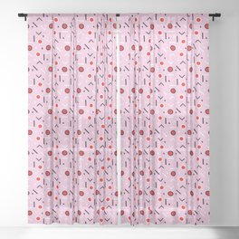 Memphis Tribes - Red and Pink Sheer Curtain