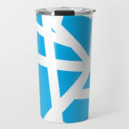 Abstract Interstate  Roadways White & Aqua Blue Color Travel Mug