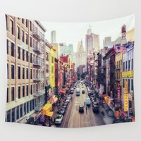 new york city Wall Tapestries featuring New York City by Vivienne Gucwa