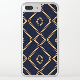 Modern Boho Ogee in Navy & Gold Clear iPhone Case