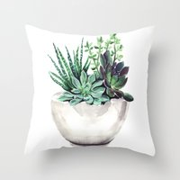succulents Throw Pillows featuring Succulents by Bridget Davidson