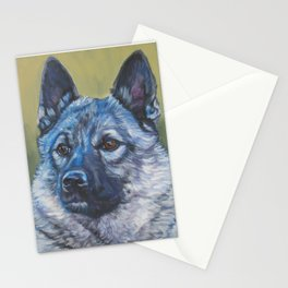 Norwegian Elkhound dog art portrait from anoriginal painting by L.A.Shepard Stationery Cards
