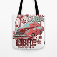 cuba Tote Bags featuring Cuba Libre by Tshirt-Factory