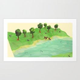 Down River (Low Poly) Art Print