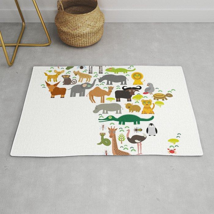 map of Africa: parrot Hyena Rhinoceros Zebra Hippopotamus Crocodile Turtle Elephant Mamba snake Rug
