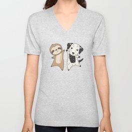 Sloth Dalmatian Dog Animal Lovers For Children Unisex V-Neck