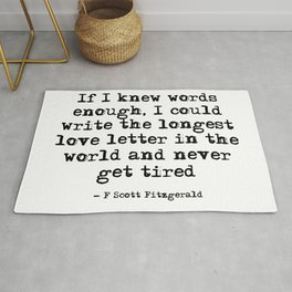 If I knew words were enough - Fitzgerald quote Rug