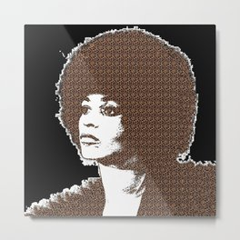 Angela Davis - Black Background Metal Print