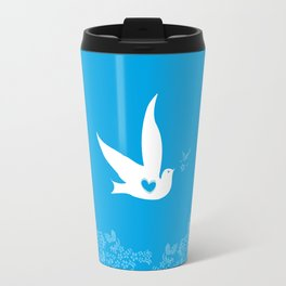 Love and Freedom - Blue Travel Mug